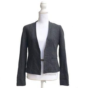 Gray Wool Open Long Sleeve Blazer Jacket   Small